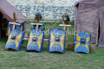 Various roman knight shields