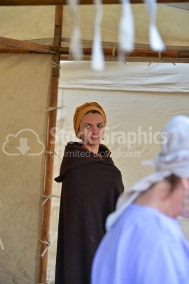Woman dressed like old ancient woman from Dacian era