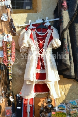 Romanian traditional clothes for sale at market