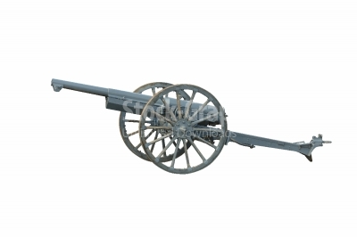 Iron cannon isolated over a white background. Ancient armament f