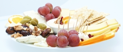 cheese plate - various types of cheese, grapes green and wallnut