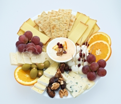 Cheese plate Assortment of various types of cheese  view from th