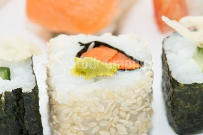 Sushi roll close up