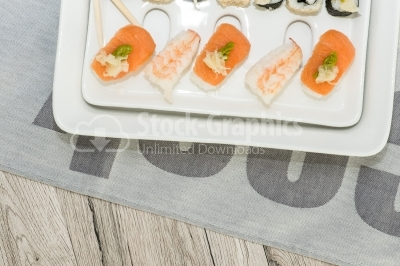 Sushi plate with space for text