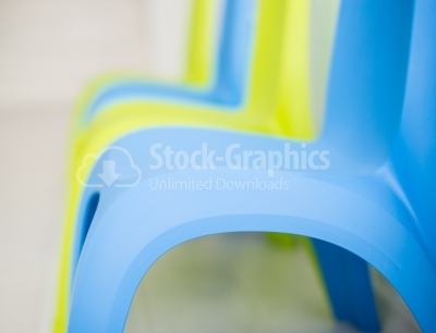 Blue plastic chair close up