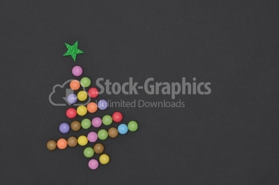Candies Christmas tree with green star