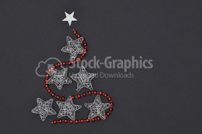 Wireframe Sparkly Silver Stars Arranged as a Christmas Tree with