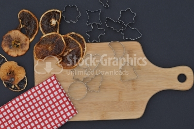 Baking background with dried fruits, and kitchen tools