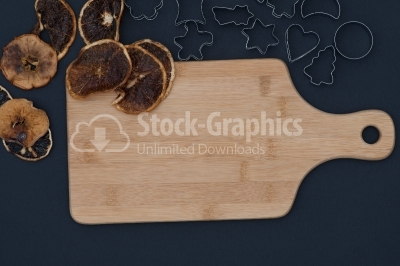 Baking background with dried fruits