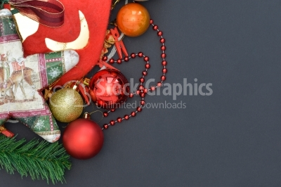 Dark christmas background with christmas decoration, top view