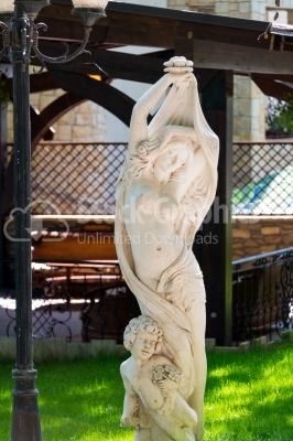 Marble statue in an ornamental garden