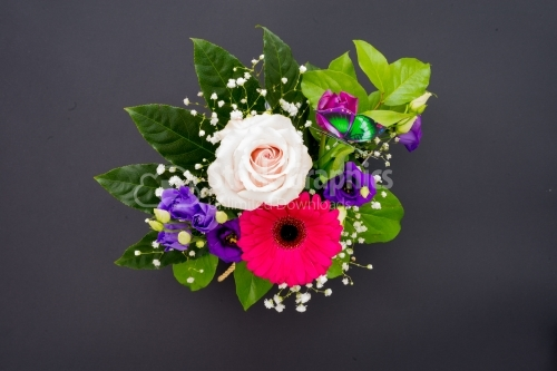 Above view of bouquet of flowers