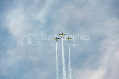 Air stunts on the blue sky