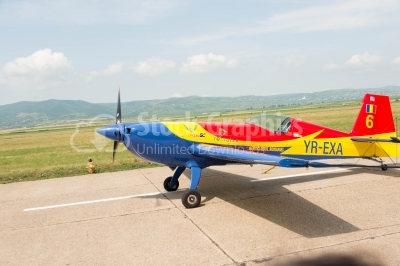 Sports romanian-flag-coloured propeller plane