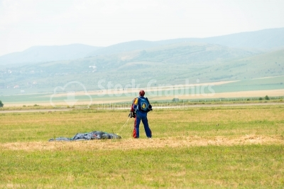 Skydiver landed on ground