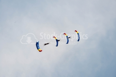 Sunny sky traced by romanian skydivers