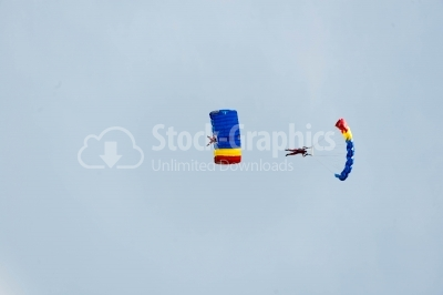 Romanian skydivers flying and performing air stunts