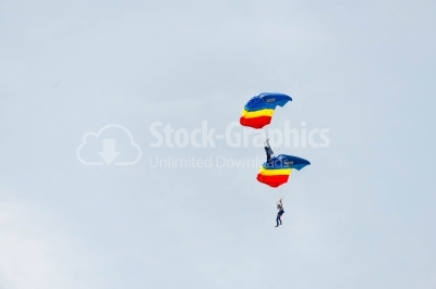 Romanian skydivers perform demonstrations of flying