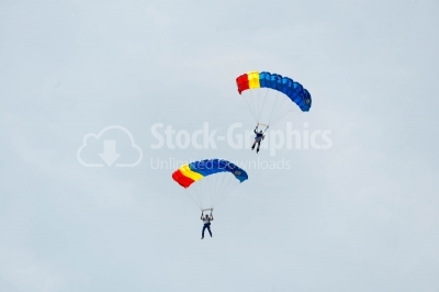 Romanian skydivers perform for the public