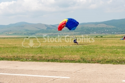 Sideway view of the skydiver