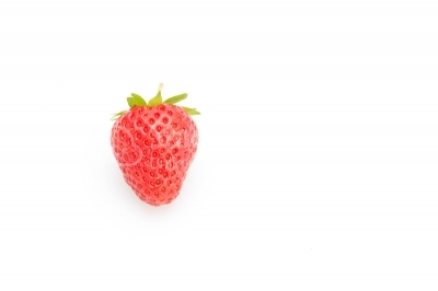 Sideways view of a ripe strawberry