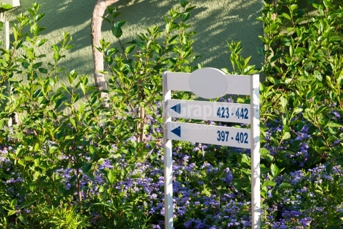 Information Sign in a garden