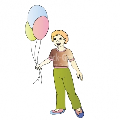 Boy with balloons - Illustration