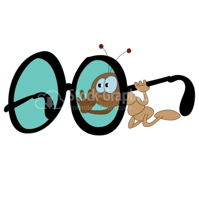 Ant cartoon with glasses