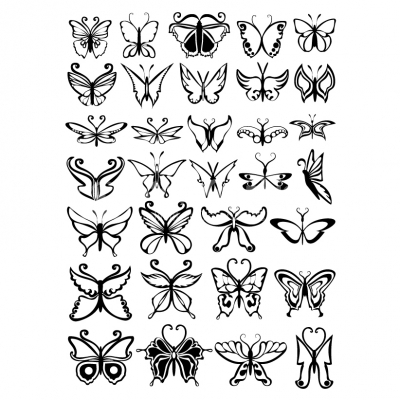 Set of black and white butterflies - Illustration