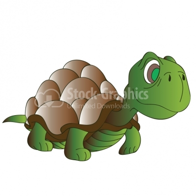 Cute Cartoon Turtle - Illustration