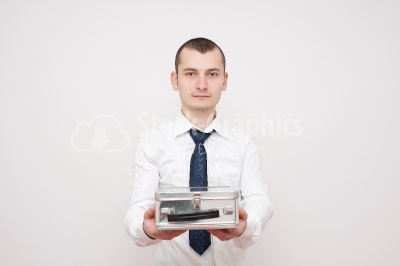 Young businessman sharing a box with you