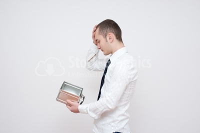 Young guy with headaches - Stock Image