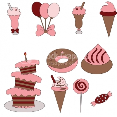 Girls Birthday Set - Illustration
