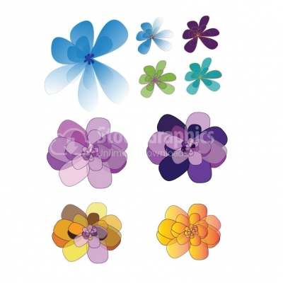 Beautiful flower icon set