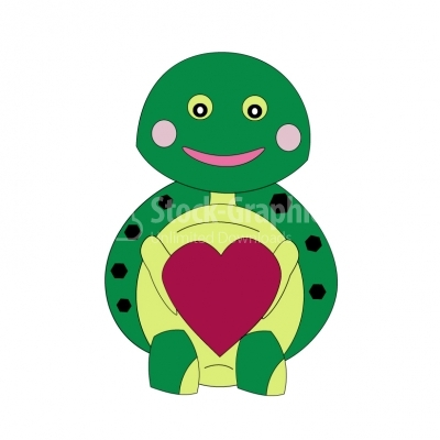 Smiling turtle with red heart