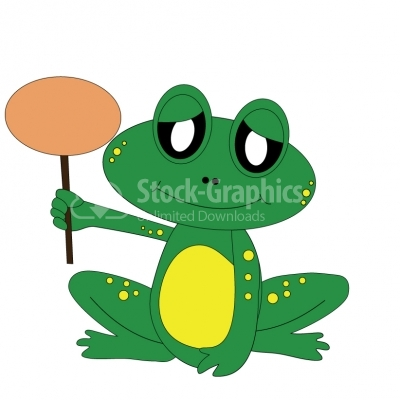 Frog with Sign - Illustration