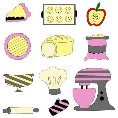 Colourful vector kitchen baking utensils - Illustration