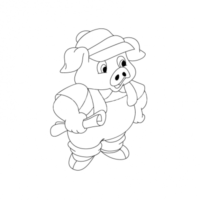 Pig holding a project black and white