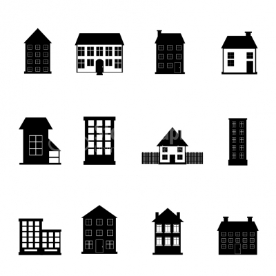 black and white apartment building clip art. House and Apartment Building black  white icon set Illustrati
