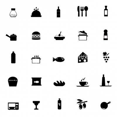 vector black kitchen and food icon icons stock graphics