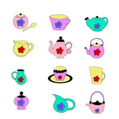 Teapots and tea accessories - Illustration