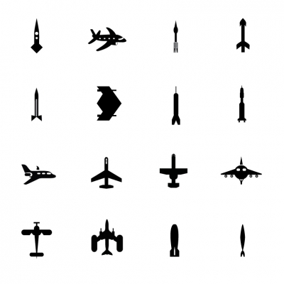 Black Symbols - Airplanes & missiles - Illustration