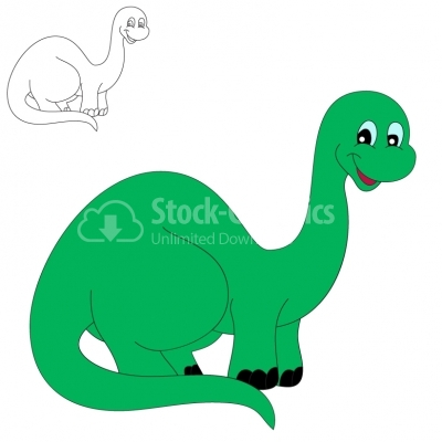 Smiling brontosaurus - Illustration