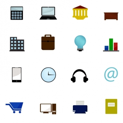 Business color icons set