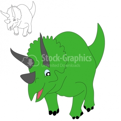 Smiling triceratops - Illustration