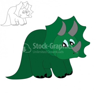 Kid Triceratops - Illustration