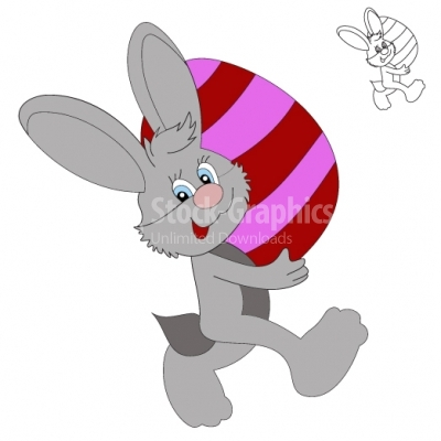 Illustration of happy Easter bunny carrying egg.