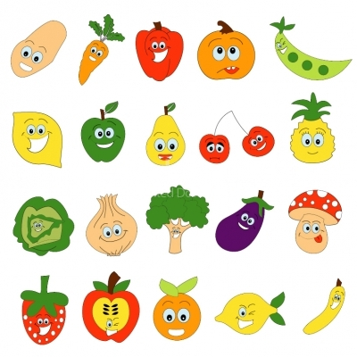 Vegetable and fruits Faces Illustration