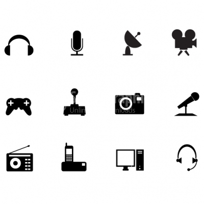 Media black icon set - Illustration