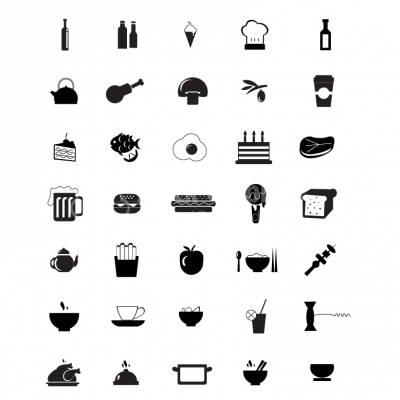 Black Kitchen Appliances and food Icons - Illustration